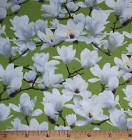 Magnolia Green Floral Fabric by Yard 100% Cotton Fresh Flower Market Sew Quilt