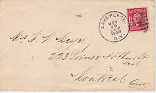 POSTAL HISTORY - 1908 COVER FROM LAKE PLACID NY TO MONTREAL QUEBEC CANADA