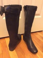 Simply Vera Vera Wang Genuine Leather Black Riding Boots Sz 6.5M  Glove Fit