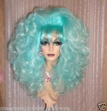 Drag Queen Wig Teased Extra Big Ice Berg Teal Blue Ltight Tips Long Curls Bangs
