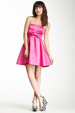 NWT BETSEY JOHNSON Sz8 FRONT BIG BOWL FIT FLARE PARTY DRESS IN HOT PINK  $199.