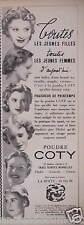 PUBLICITÉ 1938 POUDRE COTY FRAICHEUR DE PRINTEMPS TROIS TEINTES - ADVERTISING
