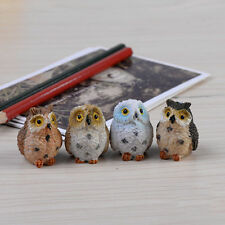 4XGarden Ornament Miniature Owl Resin Figurine Craft Pots Garden Decorative EW