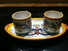 Deruta Majolica Italian Pottery - RICCO - Espresso Cups with Tray - New!