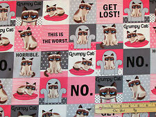 Grumpy Cat Pink & Grey Squares Fabric by the 1/2 Yard   R11-9724-0144