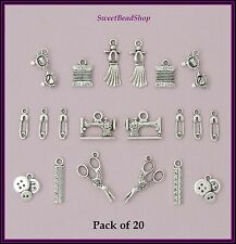 20 Antique Silver Colour Mixed Pack of Sewing Charms