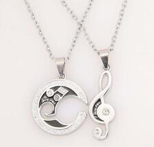 YOC Silver Chain Stainless Steel Couple Matching Music Note Pendant Necklace Set