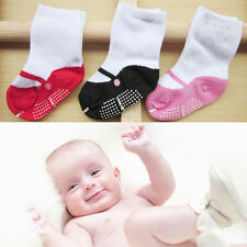Baby Girls Newborn Crib Soft Cotton Shoes Floor Socks Boots Anti-slip 0-24M Pink