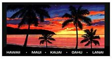 "Hawaiian Beach Towels Sunset Palm Trees Island Black Oranges 61""x30"" Hawaii NIB"