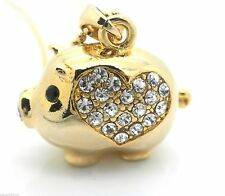 Ladies Womans Pig Piggy Crystal Necklace Pendant signifies Good Luck Heart Gold