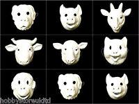 Plain Animal Masks White Face Mask Plain Fancy Dress Childrens Mask With Elastic