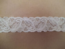 WHITE 1-1/8 inch Stretch Lingerie Lace Leaf Design Baby Headband 5 yds