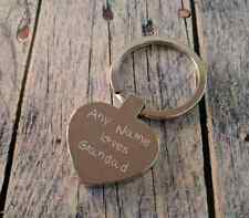 Personalised Engraved Heart Keyring - Any name loves Grandad - Add your details