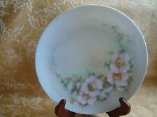 ANTIQUE HAND PAINTED PORCELAIN THOMAS SEVRES BAVARIA PINK FLOWERS PLATE 1913