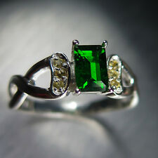 0.70cts Natural Russian Chrome Diopside Sterling 925 Silver ring N1/2, 7, resize