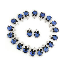 10pcs Plated Rhodium Black&Blue Rhinestone Owl Animal Alloy Pendant Findings D