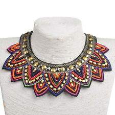 Tribal Choker Necklace Beads Red Chunky Statement Chain Collar Pendant Jewelry