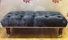 A Quality Long Deep Buttoned Footstool In Laura Ashley Caitlyn Midnight Fabric