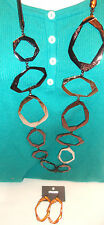 "Chico's  necklace ""Norta Long"" copper & silver tone 44"" to 48"" w/ match earrings"