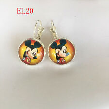 Handmade Disney mickey mouse Cabochon glass silver Dangle Earrings EQ20 .