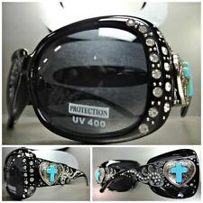 WESTERN Bling Crystals COWGIRL SUN GLASSES Silver Heart & Turquoise Cross Concho