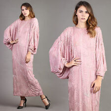 vtg PINK+BEADED silk BATWING draped cocktail party avant garde deco dress 80s M