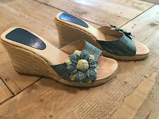 Women's wedge espadrille high heels Pasos made in Spain size 8 blue with flower
