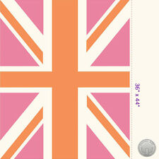 140125656 -New Union Jack Flag Panel Pink and Orange Fabric Great Britain London