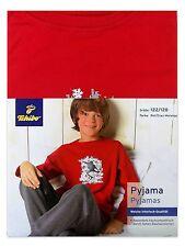 TCM Tchibo Jungen Pyjama Schlafanzug Interlock-Qualität Rot-Grau 122/128 Neu