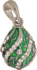 Faberge Egg Pendant / Charm with crystals 2.2 cm green #0806