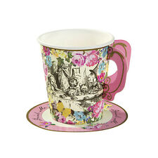 12 CUPS & SAUCERS TALKING TABLES TRULY ALICE IN WONDERLAND MAD HATTERS TEA PARTY
