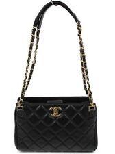Chanel Vintage Black Quilted Leather Chain Shoulder Strap Handbag Gold Hardware
