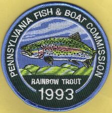"""Pa Pennsylvania Fish Commission NEW 4"""" 1993 Rainbow Trout 3rd Trout Stamp Patch"""