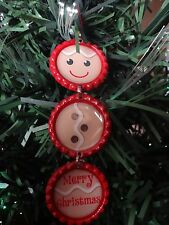 Bottle Cap Christmas Ornament: Gingerbread Man RED * unique * NEW handmade