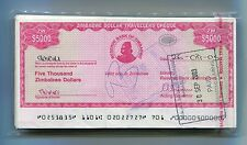 ZIMBABWE DOLLAR TRAVELLERS CHEQUE $5 000 CHECK 2003 - P#16 -RARE x 100 PIECES B