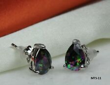 MYSTIC RAINBOW PEACOCK FIRE TOPAZ TEAR DROP 1.38 C/ECH PEAR CZ STUD EARRINGS