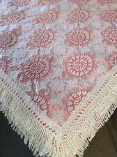 VTG Matelasse Queen Bed Spread Coverlet w Silk Tassel Trim Pink/Wht Portugal EUC