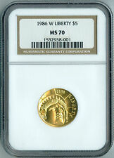 1986 W LIBERTY Gold Coin $5 NGC MS 70