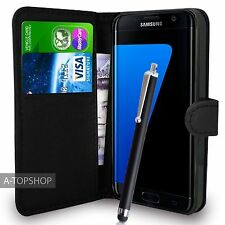 Black Wallet Case PU Leather Book Cover For Samsung Galaxy S7 Edge G935 Mobile