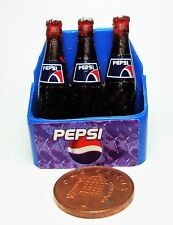 1:12 Scale 3 Pepsi Bottles In A Case Dolls House Miniature Pub - Bar Accessory