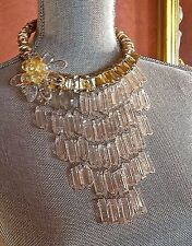 ~ WOW! Massive Statement Runway Designer Lucite Gold Rope Bib Pendant NECKLACE
