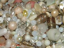 New 1 Lb Glass, Stone 100's of 6-15mm WHITE'S MIXED LOOSE BEADS LOT  (w1)