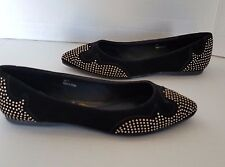 Rebels Womens Black/Gold Roxy Studded Ballet Shoes Size 7 NWB