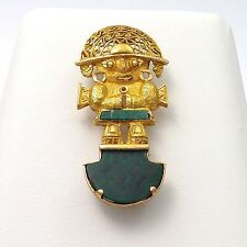 18k Gold Malachite Mayan Incan Warrior Soldier Brooch Pin Pendant 9.7gr