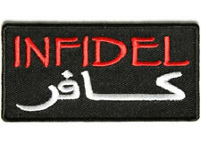 LOT OF 2 - INFIDEL ARABIC RED EMBROIDERED BIKER PATCH