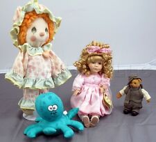 Lot of 4 Children's Toys Precious moments doll, Bear figurine, Bath toy
