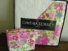CYNTHIA ROWLEY PINK LIME Orange FLORAL TWIN QUILT Sham SET~2PC