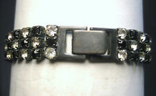 "DOROTHY BAUER 3 strand 7"" bracelet in Swarovski jet and clear crystal"