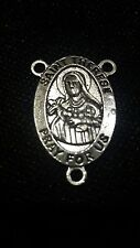 2 piece Tibetan silver rosary part 3hole centrepiece Catholic St Teresa 30mm