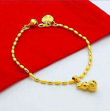 Wholesale 24K Yellow Gold Plated Gourd Rice Beads Women Bracelet 2.5MM jH019